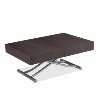 Table basse relevable extensible ALBATROS design marron Wengé Pied alu