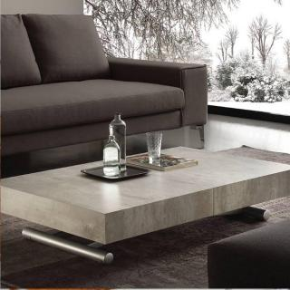 Table basse relevable extensible BLOCK design ciment aspect vieilli