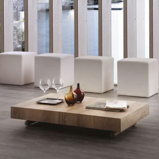 Table basse relevable extensible BLOCK design rouvre noué piétement taupe 80 x 120 cm