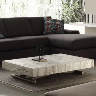 Table basse relevable extensible BLOCK design vintage piétement taupe 80 x 120 cm