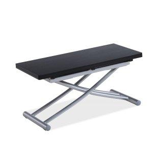 Table basse relevable COLIBRI ultra compacte mélaminé bois noir 90*45 cm