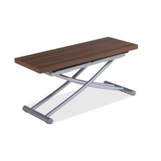 Table basse relevable COLIBRI ultra compacte mélaminé bois noyer 100*45 cm
