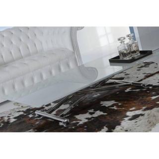 LIFT CRISTAL table basse relevable extensible en verre blanc brillant