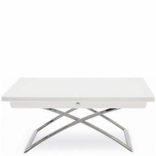Table basse relevable extensible italienne MAGIC J  blanche et piétement en acier chromé