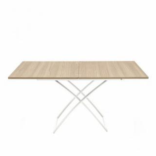 Table basse relevable extensible italienne MAGIC J  en bois naturel et piétement en acier laqué blanc