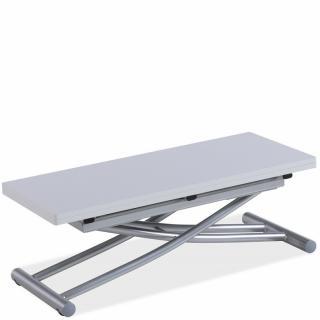 Table basse relevable COLIBRI ultra compacte mélaminé chêne blanc 90*45 cm