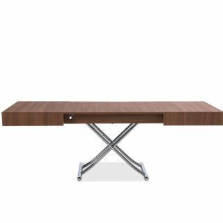 Table basse relevable extensible ALBATROS design coloris Noyer Pied chromé  120/221 x 80 cm