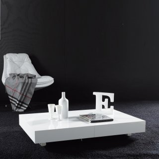 Table basse relevable extensible BLOCK design blanc brillant