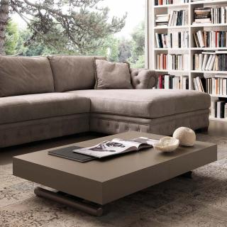Table basse relevable extensible BLOCK 80 x 120 cm design taupe