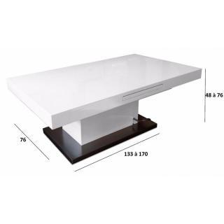 Table basse relevable extensible SETUP blanc brillant