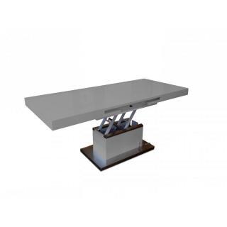 Table basse relevable extensible SETUP gris brillant