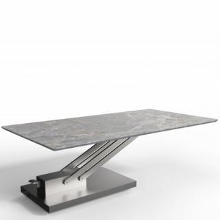 Table basse relevable BRAVO MARBLE GREY céramique marbre gris