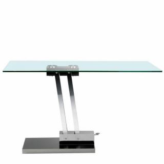 Table basse relevable BRAVO en verre transparent structure chromée