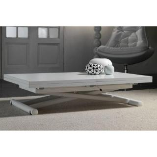 Table basse relevable extensible LIFT WOOD blanche piétement blanc