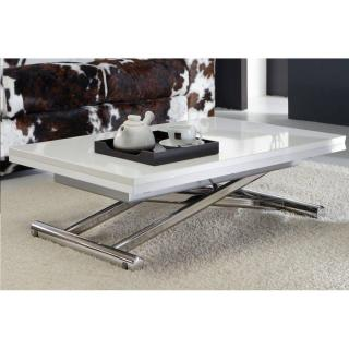 Table basse relevable extensible LIFT WOOD blanc brillant  piétement chromé