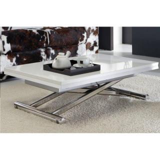 Table basse relevable extensible LIFT WOOD blanc brillant  piétement chromé