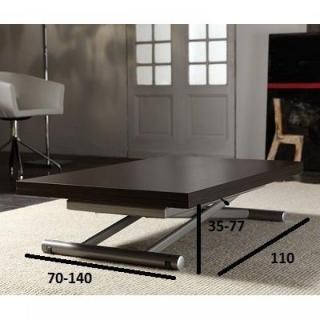 Table basse relevable extensible LIFT WOOD wengé 110 x 70 cm