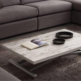 Table basse relevable extensible LIFT WOOD vintage 110 x 70 cm