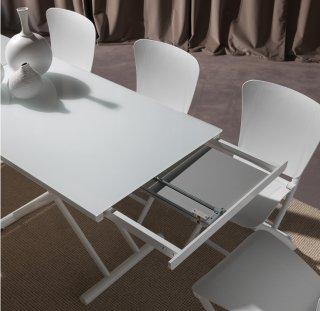 Table basse relevable extensible HAPPENING blanc piétement blanc