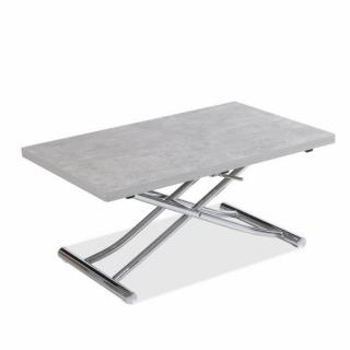 Table basse relevable extensible TRENDY mélaminé gris Béton/Pied chromé 110 x 70/140 cm
