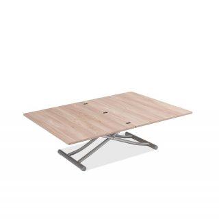 Table basse relevable extensible TRENDY mélaminé chêne clair Pied alu 110 x 70/140 cm