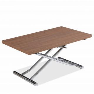Table basse relevable extensible TRENDY mélaminé noyer/Pied chromé 110 x 70/140 cm