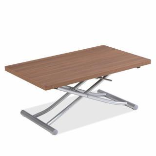 Table basse relevable extensible TRENDY mélaminé noyer Pied alu 110 x 70/140 cm
