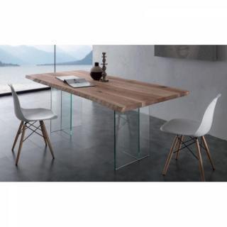 Table repas TIO GLASS en bois massif piétement en verre.