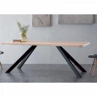 Table repas BIO METAL en bois massif piétement en métal.