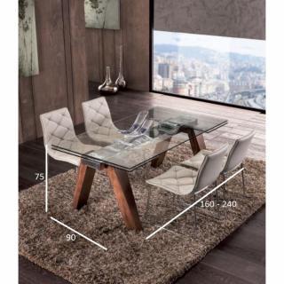 Table repas extensible DESIGNA plateau en verre piétement bois massif teinté noyer