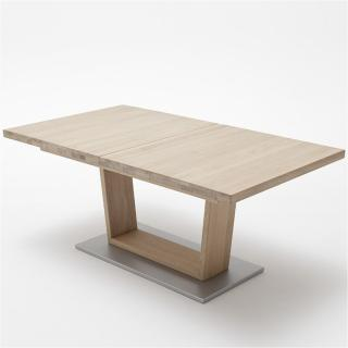 Table extensible rectangulaire CATANE 140 x 90 cm chêne massif ceruse