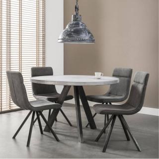 Table repas CONCRETE 120cm plateau effet béton piétement acier noir