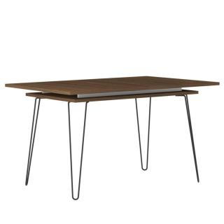 Table repas 6-8 couverts design scandinave LACKBERG noyer une allonge