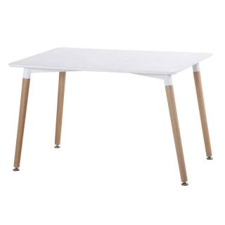 Table repas style scandinave NORWAY 120 x 80 cm blanc mat et brillant