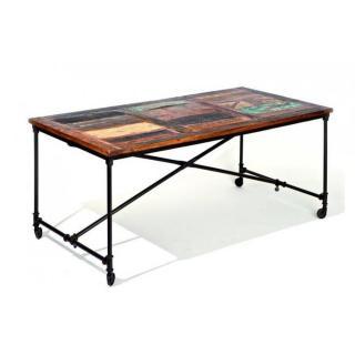 Table repas unique COFFEE en bois de manguier recycle et acier
