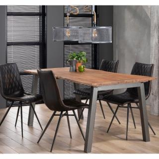 Table repas EDGE 180cmx90 design acacia massif 25mm avec piétement en acier gris