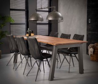 Table repas EDGE 210cmx95 design acacia massif 25mm avec piétement en acier gris