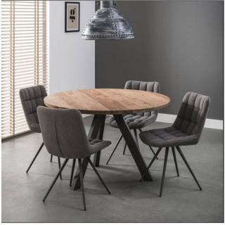 Table repas EDINSON 135cm  en acacia massif pietement inox noir brossé
