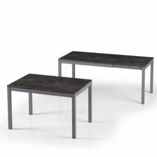 Table de repas extensible ALUNGO 120 x 80 cm finition effet marbre noir