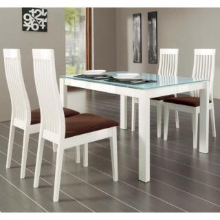 Table repas extensible BARON  130x85 en verre piétement métal laqué blanc