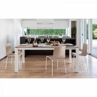 Table repas extensible BARON  130x85 en bois naturel piétement métal laqué blanc