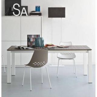 CALLIGARIS Table repas extensible BARON  130x85 greywood piétement métal blanc