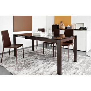 CALLIGARIS Table repas extensible BARON  130x85 piétement wengé plateau verre café