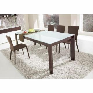 Table repas extensible BARON  130x85 piétement wengé plateau en verre