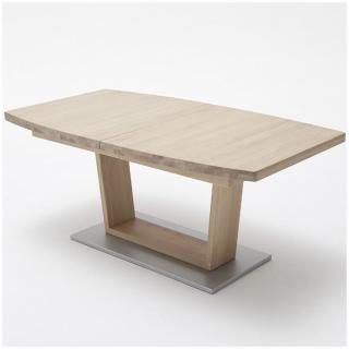 Table extensible CATANE 140 x 90 cm chêne massif ceruse forme bateau