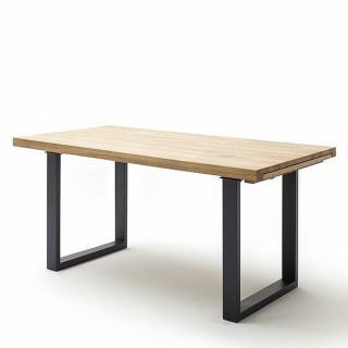 Table repas extensible DARKE 220 x 100 cm chêne sauvage acier laque anthracite