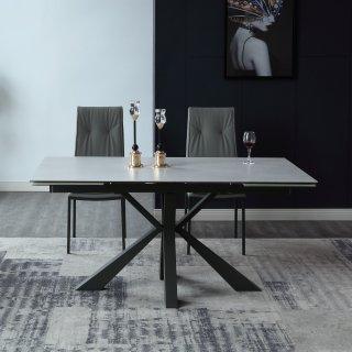 Table repas extensible COMETE céramique gris 140/200 x 90 cm