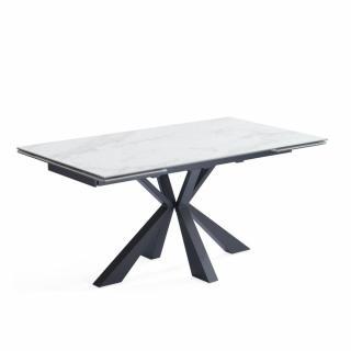 Table repas extensible COMETE céramique couleur marbre Blanc 140/200 x 90 cm