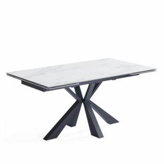 Table repas extensible COMETE céramique couleur marbre Blanc 160/240 x 90 cm
