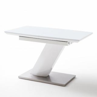 Table repas extensible design GALIA 120/160 x 80 cm blanc laqué brillant verre trempé